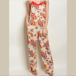 Pants - Floral Side Striped Chill Jumpsuit